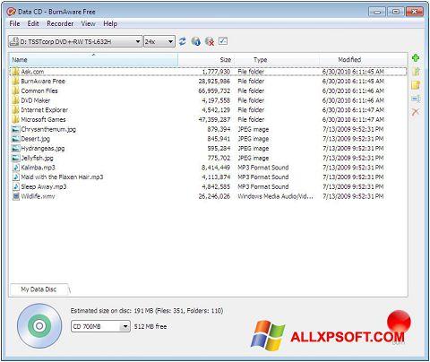 Skærmbillede BurnAware Free Windows XP