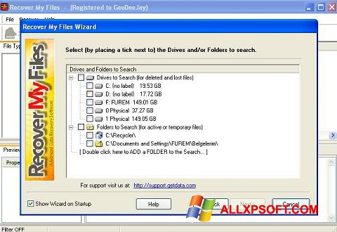 Skærmbillede Recover My Files Windows XP