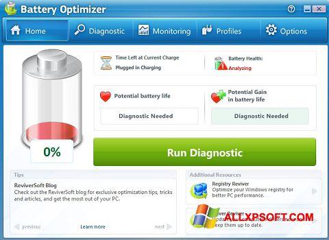 Skærmbillede Battery Optimizer Windows XP