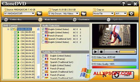 Skærmbillede CloneDVD Windows XP