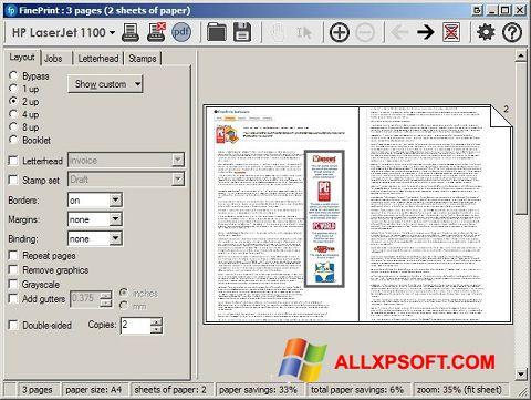 Skærmbillede FinePrint Windows XP