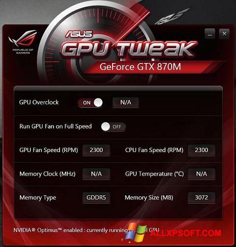 Skærmbillede ASUS GPU Tweak Windows XP