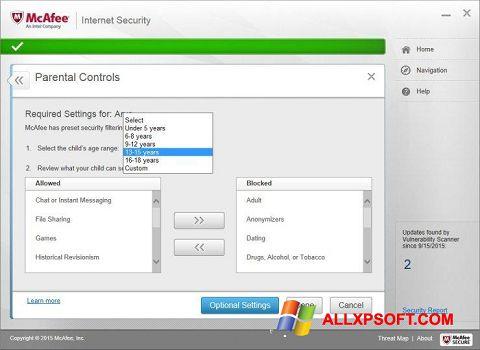 Skærmbillede McAfee Windows XP