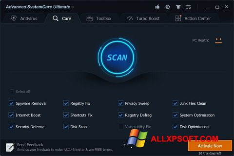 Skærmbillede Advanced SystemCare Ultimate Windows XP