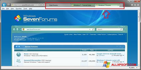Skærmbillede Internet Explorer Windows XP