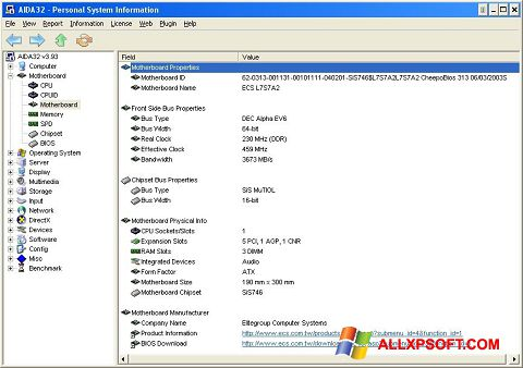 Skærmbillede AIDA32 Windows XP