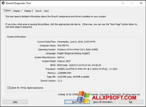 Skærmbillede DirectX Windows XP