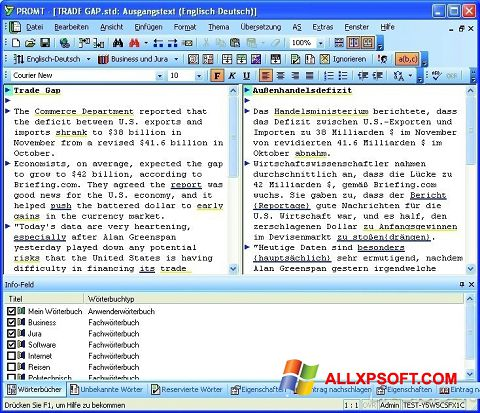 Skærmbillede PROMT Windows XP