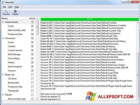 Skærmbillede BleachBit Windows XP