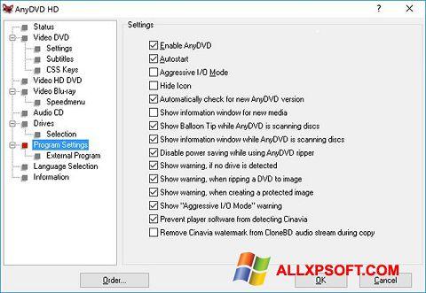 Skærmbillede AnyDVD Windows XP