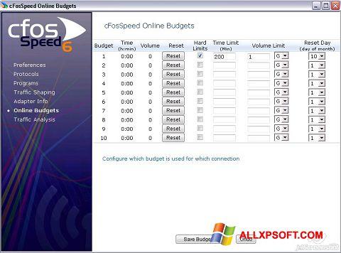 Skærmbillede cFosSpeed Windows XP