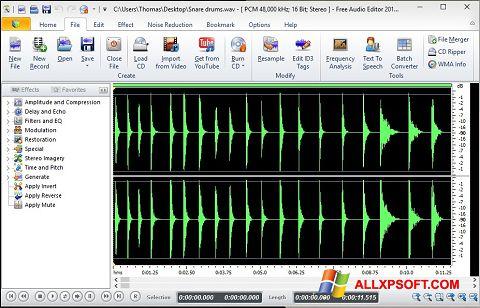 Skærmbillede Free Audio Editor Windows XP