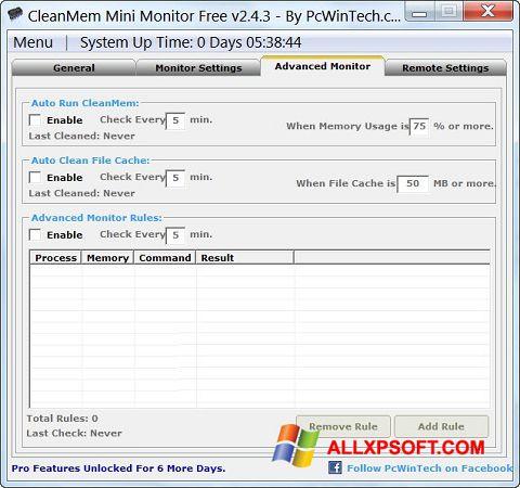 Skærmbillede CleanMem Windows XP