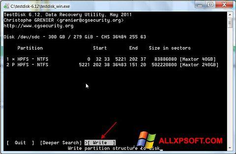 Skærmbillede TestDisk Windows XP