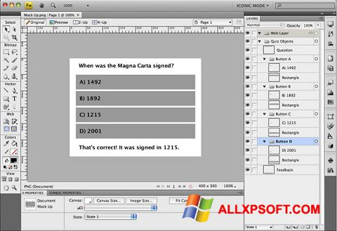 Skærmbillede Adobe Fireworks Windows XP