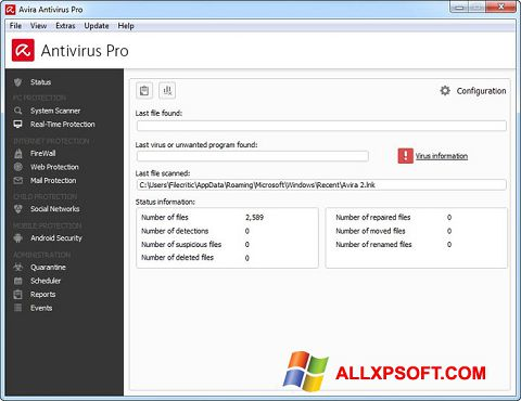 Skærmbillede Avira Antivirus Pro Windows XP