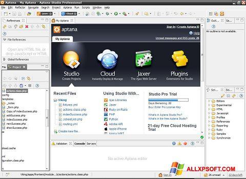 Skærmbillede Aptana Studio Windows XP