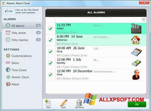 Skærmbillede Atomic Alarm Clock Windows XP