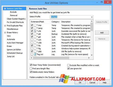 Skærmbillede Ace Utilities Windows XP