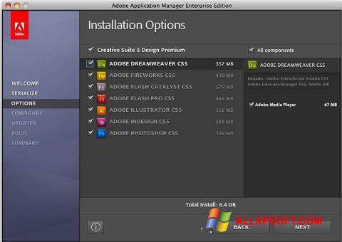Skærmbillede Adobe Application Manager Windows XP