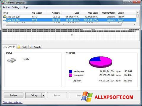 Skærmbillede Defraggler Windows XP