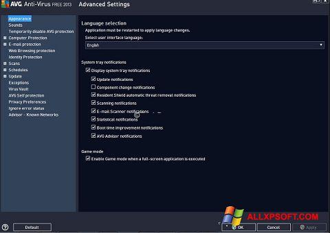 Skærmbillede AVG Windows XP