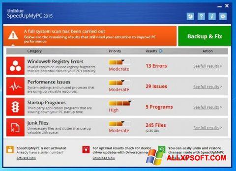 Skærmbillede SpeedUpMyPC Windows XP