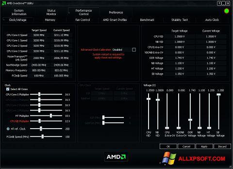 Skærmbillede AMD Overdrive Windows XP