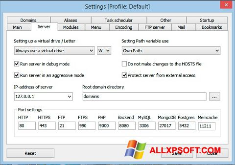 Skærmbillede Open Server Windows XP
