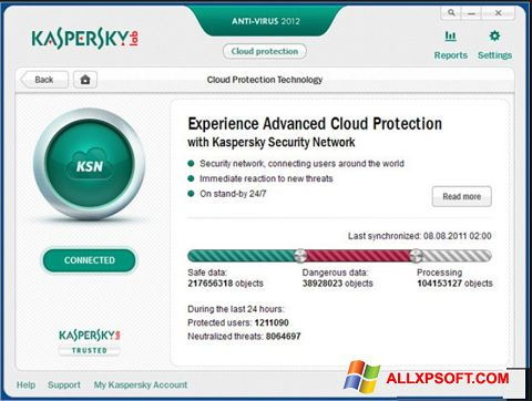 Skærmbillede Kaspersky Windows XP