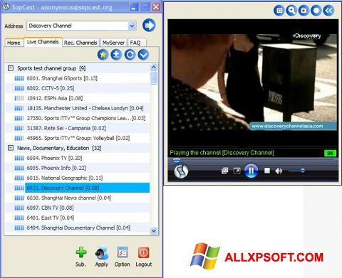 Skærmbillede SopCast Windows XP