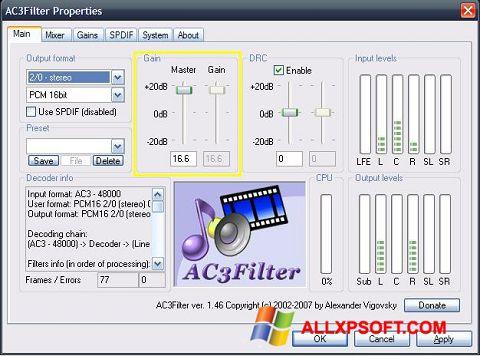Skærmbillede AC3Filter Windows XP