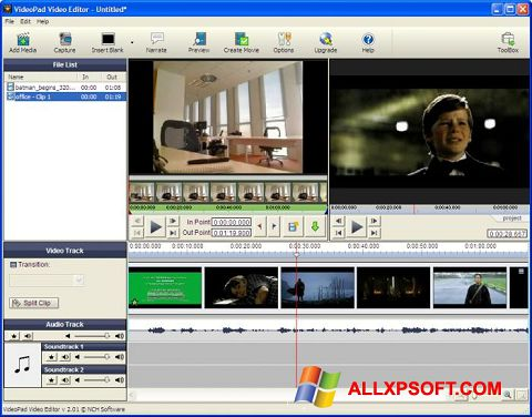 Skærmbillede VideoPad Video Editor Windows XP