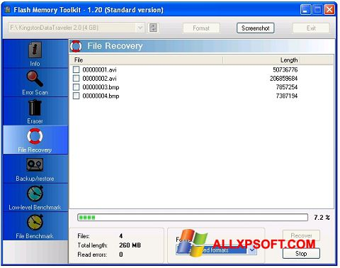 Skærmbillede Flash Memory Toolkit Windows XP