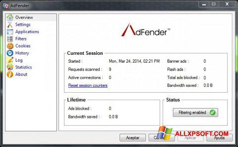 Skærmbillede AdFender Windows XP
