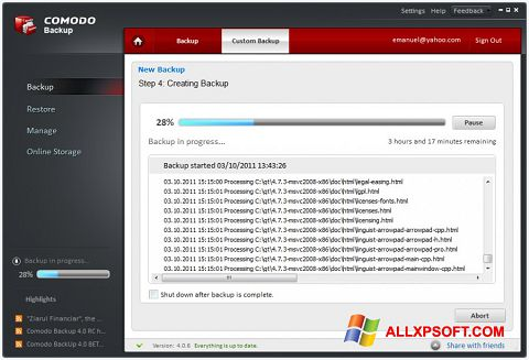 Skærmbillede Comodo BackUp Windows XP