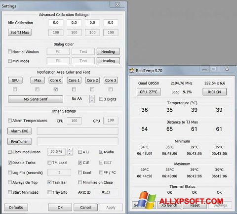 Skærmbillede Real Temp Windows XP