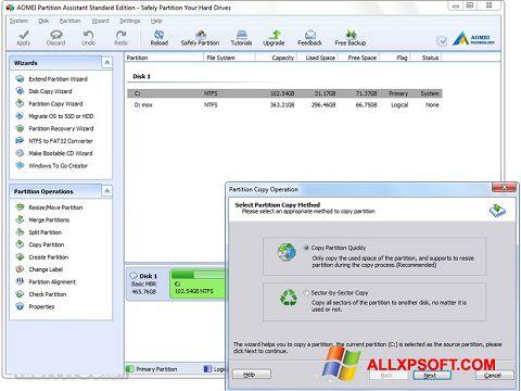 Skærmbillede AOMEI Partition Assistant Windows XP