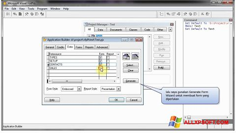 Skærmbillede Microsoft Visual FoxPro Windows XP