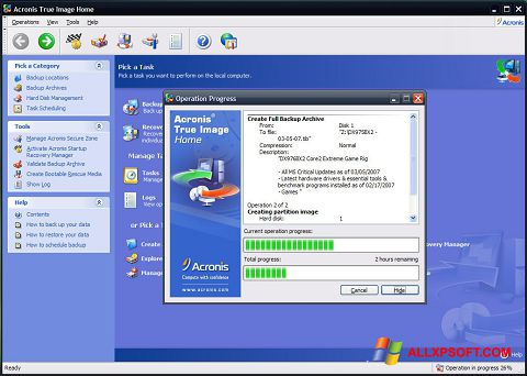 Skærmbillede Acronis True Image Windows XP
