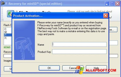 Skærmbillede F-Recovery SD Windows XP
