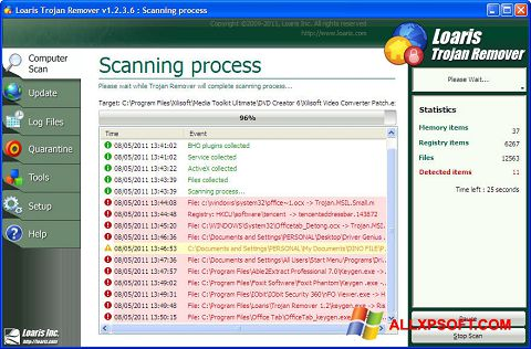 Skærmbillede Trojan Remover Windows XP