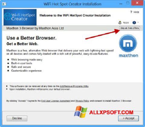 Skærmbillede Wi-Fi HotSpot Creator Windows XP