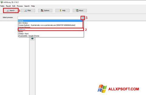 Skærmbillede ArtMoney Pro Windows XP
