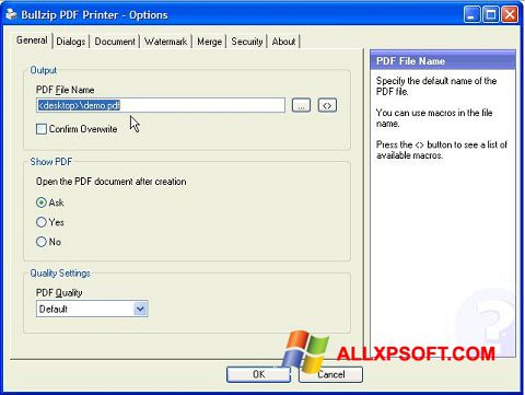 Skærmbillede BullZip PDF Printer Windows XP