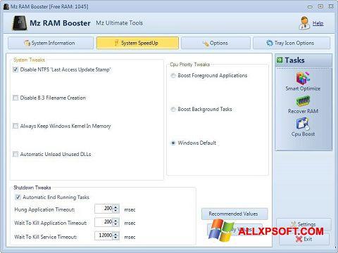 Skærmbillede Mz RAM Booster Windows XP