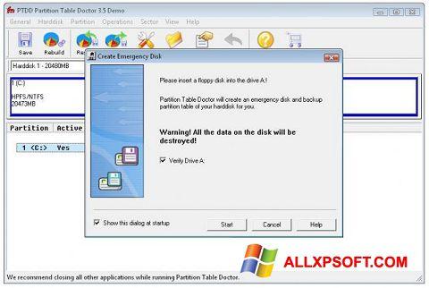 Skærmbillede Partition Table Doctor Windows XP