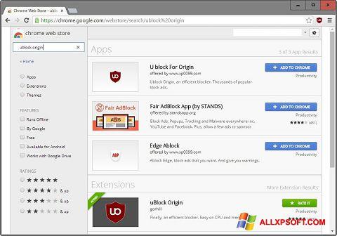 Skærmbillede uBlock Windows XP