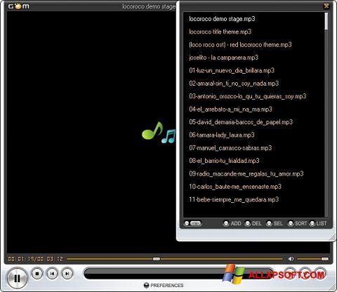 Skærmbillede GOM Player Windows XP