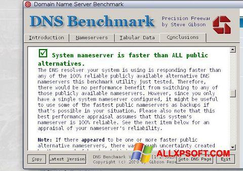 Skærmbillede DNS Benchmark Windows XP